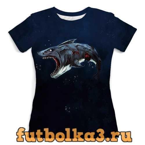 Футболка Акула зомби женская