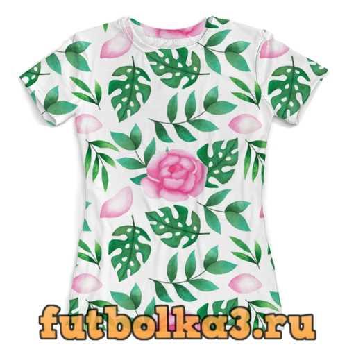 Футболка Акварельный цветы женская