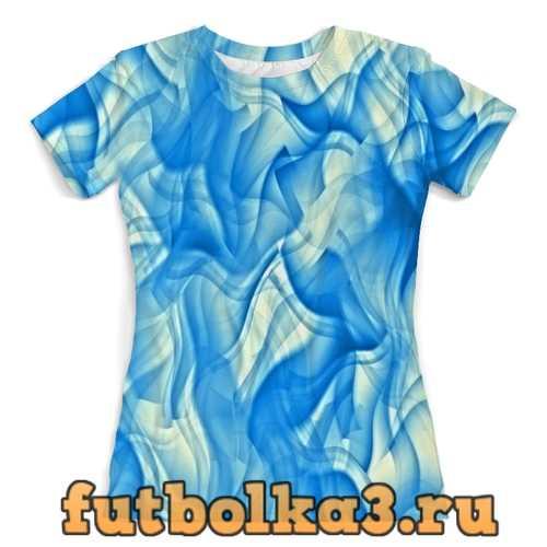 Футболка Бело-голубой узор женская