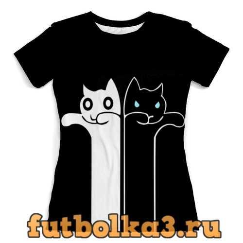 Футболка Белый кот чёрная кошка женская