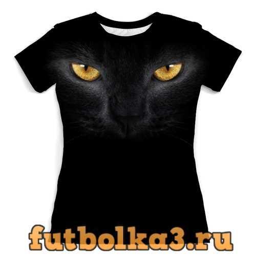 Футболка Черная кошечка женская