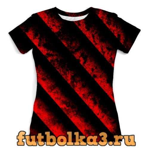 Футболка Черно-красные полосы женская