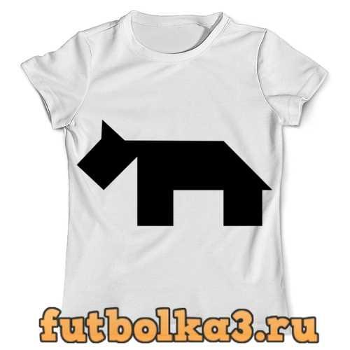 Футболка Чёрная собака танграм мужская