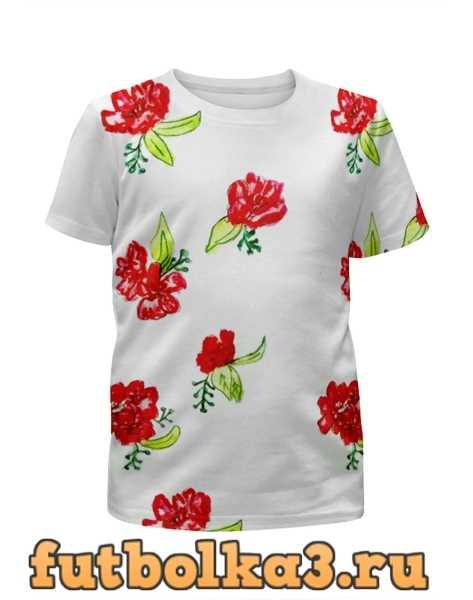 Футболка для девочек Футболка Красные цветы