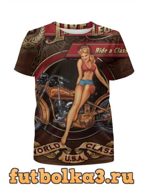 Футболка для девочек Мотоциклы, винтажный плакат.