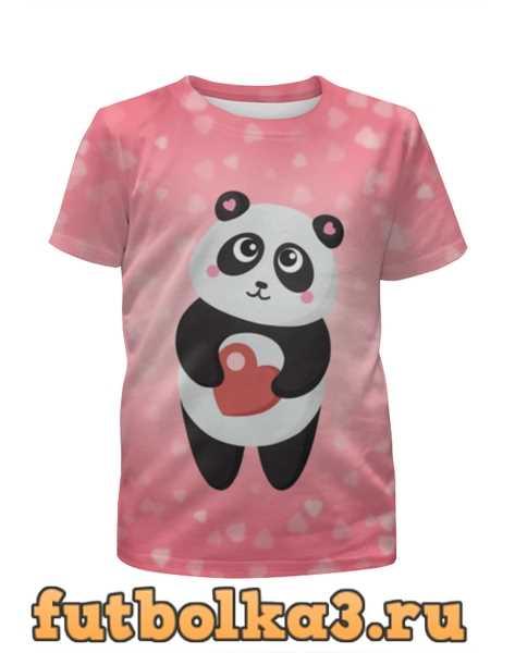 Футболка для девочек Панда с сердечком