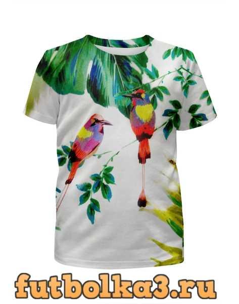 Футболка для девочек попугаи
