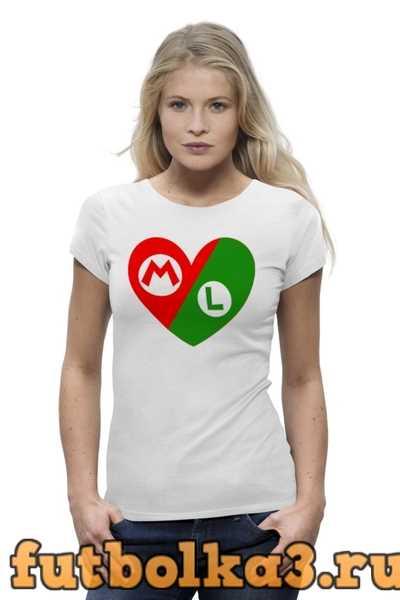 Футболка Марио и Луиджи (Сердце) женская