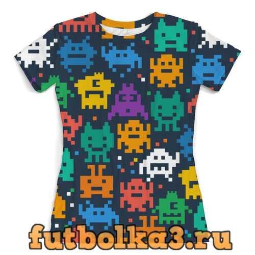 Футболка Монстры пиксели женская