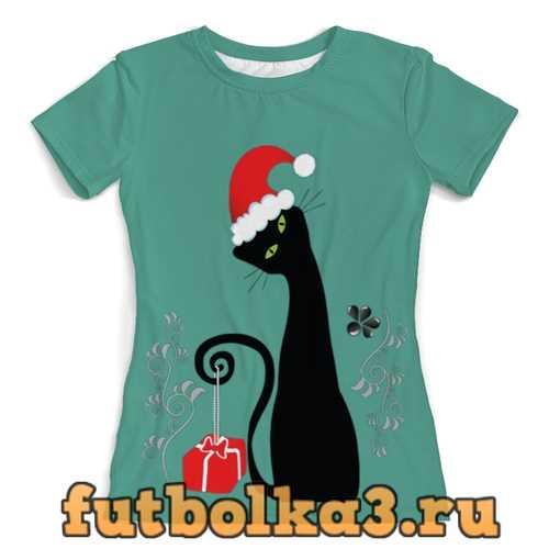 Футболка Новогодняя кошечка (1) женская