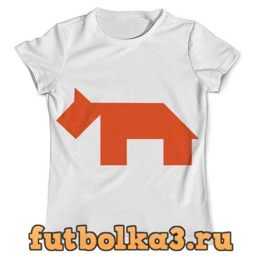Футболка Оранжевая собака танграм мужская