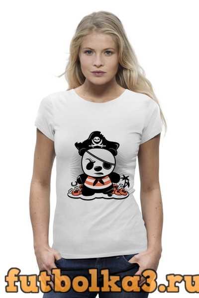 Футболка Панда пират женская