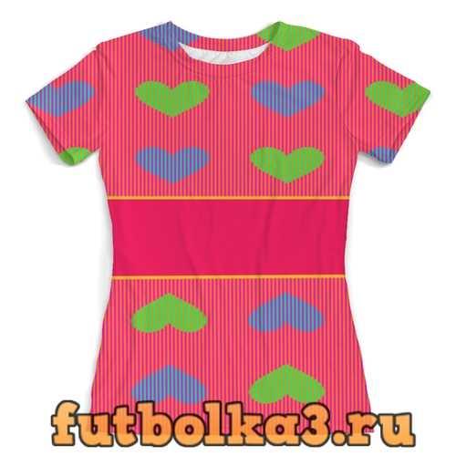 Футболка разноцветные сердца для девочек.БУДЬ ЯРЧЕ женская
