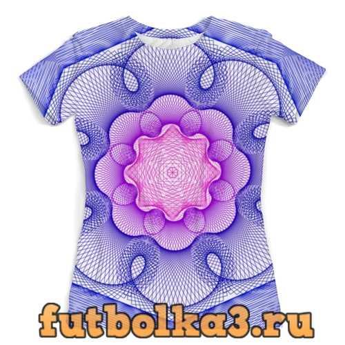 Футболка Розово-синий узор гильош женская