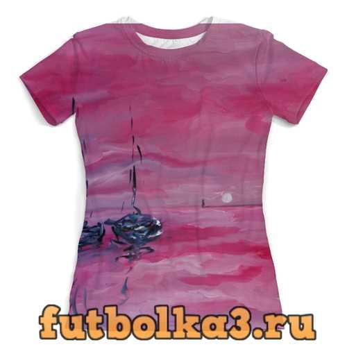 Футболка розовый закат женская