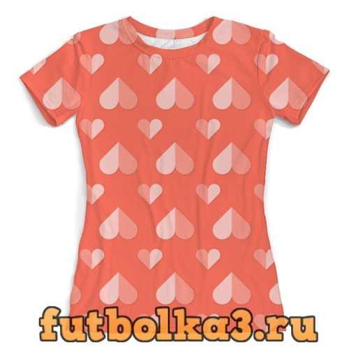 Футболка сердечки женская