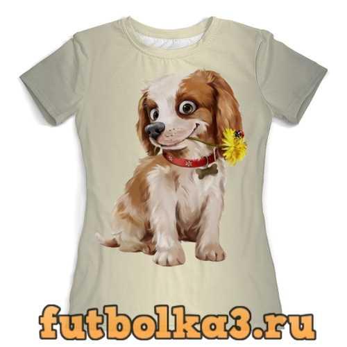 Футболка Собачка с одуванчиком женская