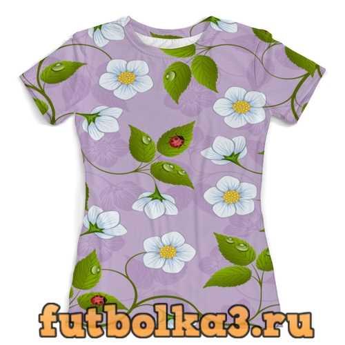 Футболка Цветки клубники женская