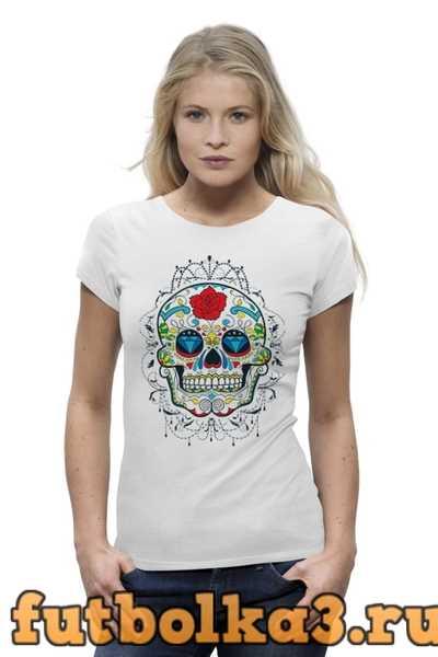 Футболка Цветочный череп женская