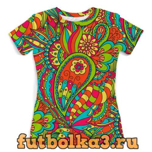 Футболка Цветочный дудл женская