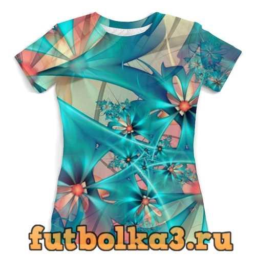 Футболка Цветы бирюзовые женская
