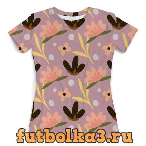 Футболка узор цветов женская