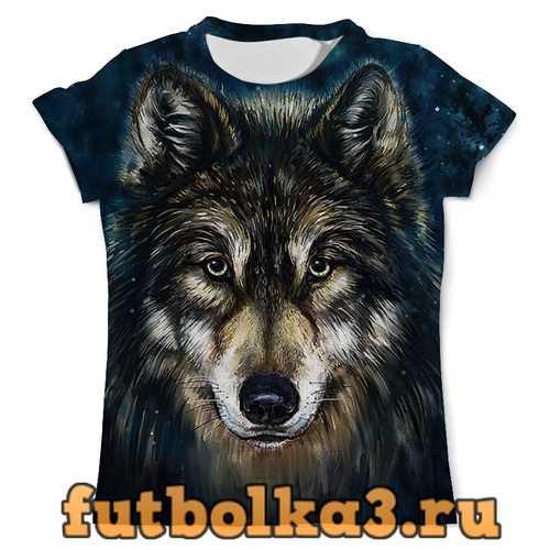 Футболка ВОЛКИ ФЭНТЕЗИ. СЕДОЙ ВОЛК мужская