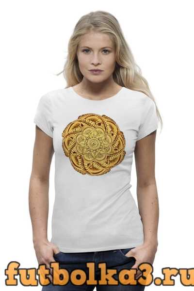 Футболка Золотая мандала - цветок в стиле мехенди женская
