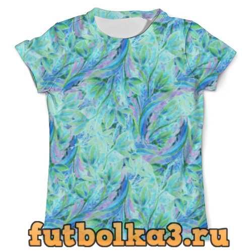 Футболка Акварельные нежные голубые цветы мужская