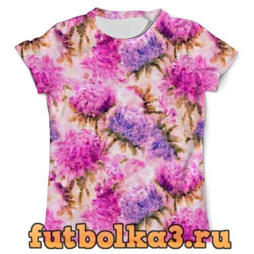 Футболка Акварельные яркие розовые цветы мужская