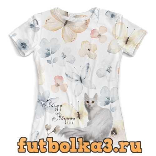 Футболка Белая коша и бабочки женская