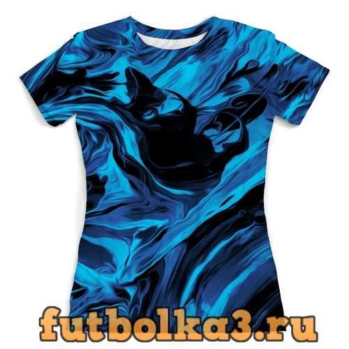 Футболка Черно-синие краски женская