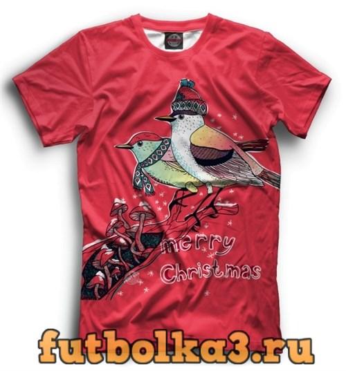 Футболка Christmas bullfinches мужская