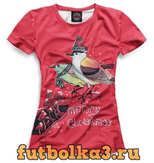 Футболка Christmas bullfinches женская