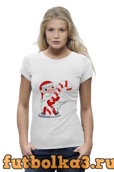 Футболка Дед Мороз с леденцом женская