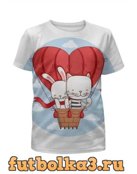 Футболка для девочек Кот и зайка на воздушном шаре. Парные футболки.
