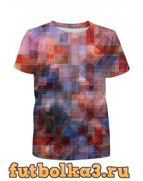 Футболка для девочек Пиксель-арт. Разноцветный паттерн