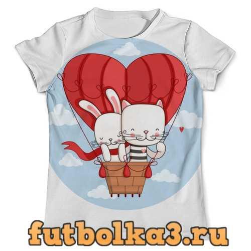 Футболка Кот и зайка на воздушном шаре. Парные футболки. мужская