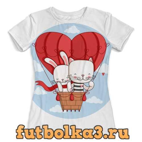 Футболка Кот и зайка на воздушном шаре. Парные футболки. женская