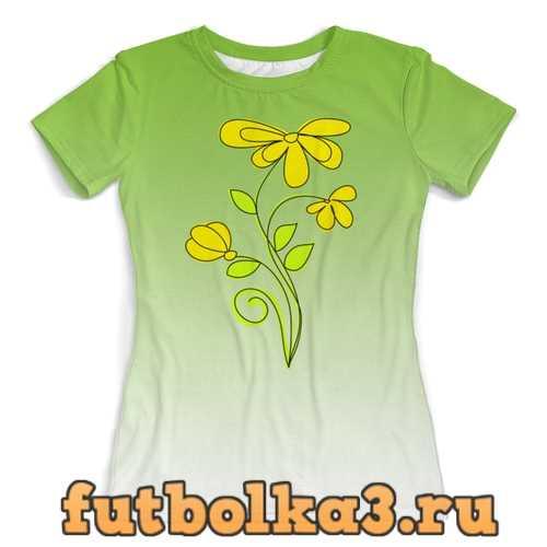 Футболка Летние полевые цветы. женская