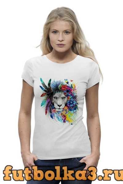 Футболка Лев в цветах женская