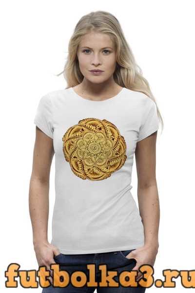 Футболка Мандала золотого цвета женская
