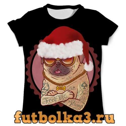 Футболка Новогодний мопс в татуировках мужская