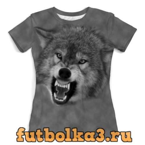 Футболка Оскал волка женская