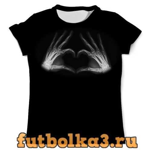 Футболка Пальцы в форме сердца, рентген мужская