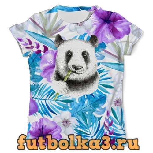Футболка Панда и цветы мужская