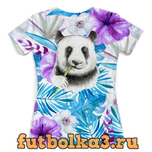 Футболка Панда и цветы женская