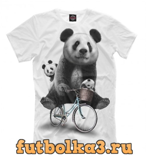 Футболка Панда на велосипеде мужская