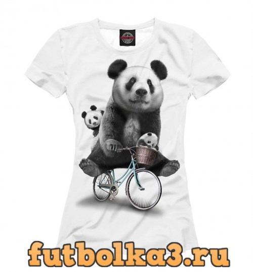 Футболка Панда на велосипеде женская