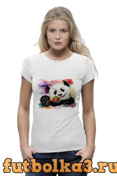 Футболка Панда с леденцом женская